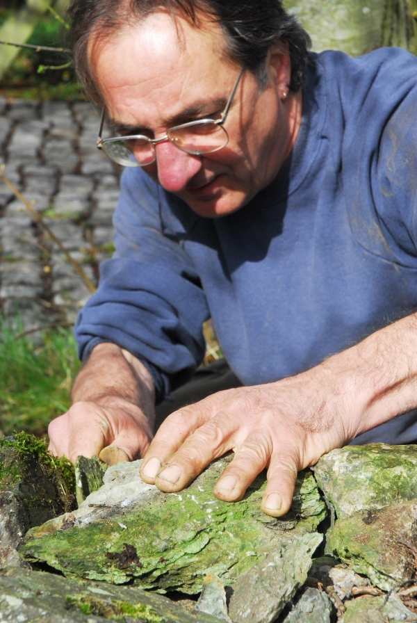 A master craftsman constructs a dry stone wall in North Wales.