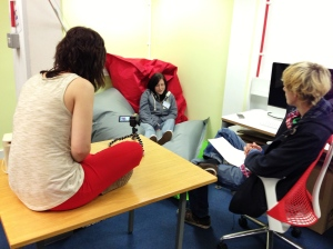Chelsea and Zach interviewing Shaunagh for the additional footage they felt was missing from the film at editing stage