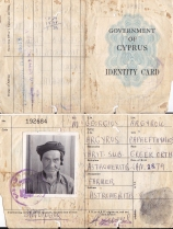 Androulla's grandfather's identity card; Cypriot farmer and British Subject