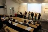 Lissa Davies, Sofia Krirstinsdottir, Mariana Tarvainen, Rebecca Giannecchini during Q & A. On left- Justin Gilday (the Protagonist of 'The Cast')