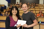 Joe receives the Audience Prize from Daniela Peluso.